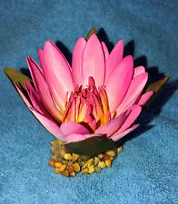 Artificial Fish Aquarium SMALL 3 in PINK Silk WATER LILY FLOWER w/ STONE BASE