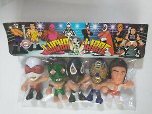 "Wrestling 3"" set of 5 figures, Lucha Libre Luchadores Cabezones (10)"