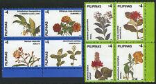 Philippines 2533-2534 blocks of 4, MI 2888-2895, MNH. Flowers, 1998