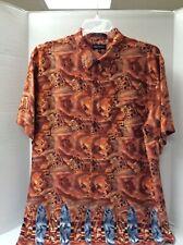 Marc Edwards 2X  Rayon Hawaiian Shirt Geometric print w/blue Surfboard Border,