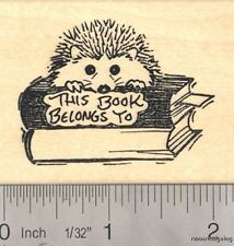 Hedgehog Bookplate Rubber Stamp  H14516 WM