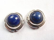 Lapis with Grooved Accents 925 Sterling Silver Round Stud Earrings