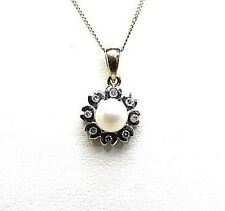 White Fresh Water Pearl 5.3mm. & Diamonds 0.08ct. Length 46cm./18.1 Long Pendant