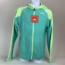 GIRLS: The North Face Fleece Full-Zip Hoodie Jacket, Teal - Size Large (14/16)