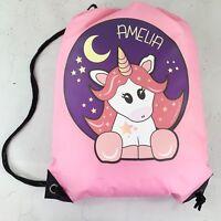 Personalised Star Unicorn Drawstring Pink PE Bag Kids Swimming Gym Kit School
