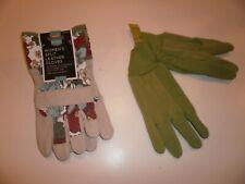 2 Women's gardening gloves Floral split leather + Green Jersey Gripper gloves