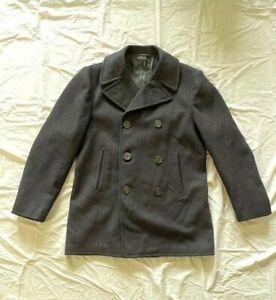 Vintage Military Pea Coat Navy Size 40