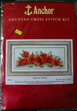 """Anchor Counted Cross Stitch Kit #PCE722 Spray of Poppies 7x18.5"""" Sealed NIP"""