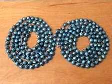 "2 Vintage Mercury Glass Bead Christmas Tree Garland Fancy Blue 52"""