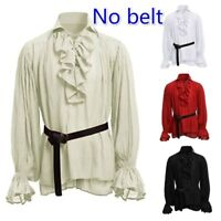 Men Vintage Ruffle Collar Shirt Long Sleeve Loose Lace Tunic Cosplay Costume