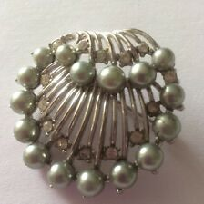 Trifari Silver Plated Brooch With Grey Pearl And Rhinestone Detail