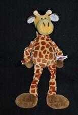 Peluche Doudou Girafe NICI Jaune Brun Crinière + Yeux Noir GM 35 Cm Etat NEUF