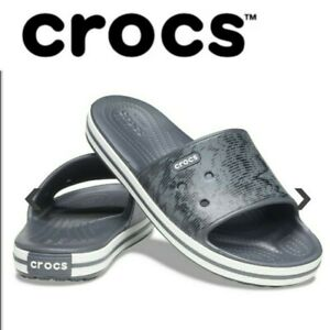Crocs Crocband III Cardio Wave Slide Thongs Flip Flops Relaxed Fit - Graphite/Bl
