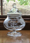 Etched Apothecary Jar Etched Leaf Grapes Footed Pedestal Glass Apothecary Rx