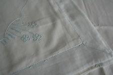 ancien drap et taie , bébé, enfant, n°472, broderie oiseaux,rideau, coussin