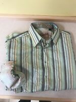 Robert Graham Mens Large Down Stripe Flip Cuff Green Orange Long Sleeve Shirt