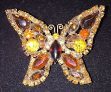 Large Weiss Butterfly Prong Set Rhinestone Signed Bronze-tone Brooch Pin 50s
