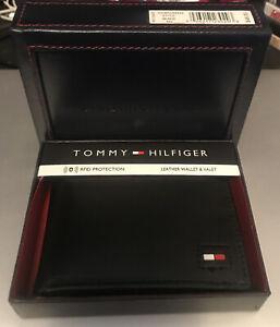 Tommy Hilfiger Men's Leather Credit Card Wallet Billfold Black