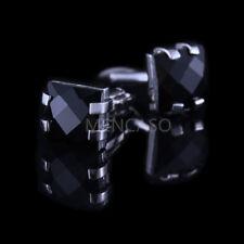 Mencaso Men's Black Diamond French Shirt Cufflinks-Wedding Party Xmas Cuff Links