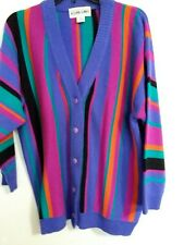 A'Milano Woman's L Button Front Vintage Vibrant Striped Acrylic Cardigan RETRO!!