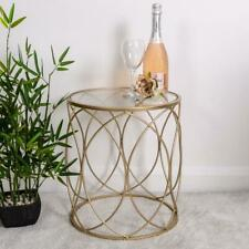 Champagne Framed Side Table Glass Top Geometric Vintage Home Furniture Chic