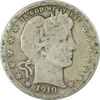 1910 D Barber Quarter AG About Good 90% Silver 25c US Type Coin Collectible