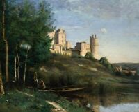 Ruins of the Chateau de Pierrefonds Camille Corot Fine Art Print CANVAS Giclee S