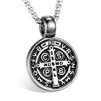 Cross Saint Benedict Medal Pendant Necklace Men Stainless steel Jewelry