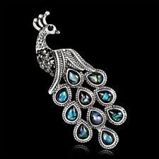 Fashion Abalone Shell Rhinestone Crystal Alloy Peacock Pin and Brooch