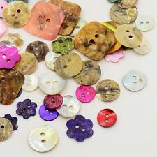 20g Mixed Shape Mother of Pearl 2-Hole Sewing Buttons Mixed Color BUTT-X0004