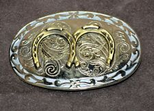 Double Horseshoes Belt Buckle Western LUCK