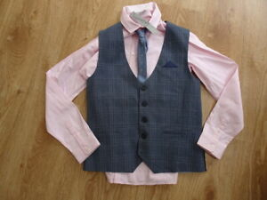 NEXT boys 3 piece shirt waistcoat tie suit set AGE 13 YEARS EXCELLENT COND