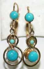 ANTIQUE VICTORIAN FRENCH 18K GOLD TURQUOISE 3 STONE FINE DANGLE EARRINGS c 1900
