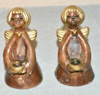 2 x Original Thun Bozener Engel   Kerzen Halter ca 10,5cm mit Aufkleber
