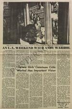 ANDY WARHOL CHELSEA GIRLS FILM REVIEW 1967 NEWSPAPER ORIGINAL
