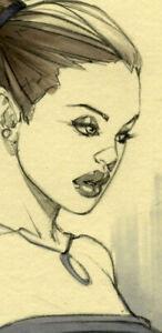 HOT ROGUE COLLEGE GIRL SK#1377 FANTASY ORIGINAL PINUP GIRL ART by ALEX MIRANDA