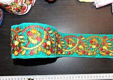 80mm cinta de ajuste Indio Asiático Verde azulado Bordado Decoración Apliques Sari Con Apliques