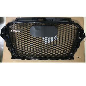 Front Grill Honeycomb Grille For Audi A3 S3 8V 2013-2016 RS3 Style Black 14-15