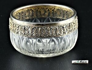 Glass bowl with silver top (1) - .950 silver, glass - France- early 20th century