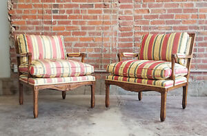 Pair MINTON-SPIDELL Cressant Chair-French Country-Lounge/Armchair-Silk-EX!