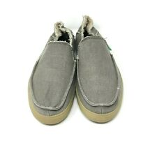 SANUK Men's Canvas Slide on With Raw Edged in a Color Khaki Brown Size: 10 US