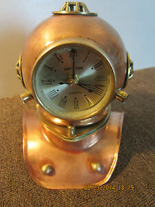 NAUTICAL, COPPER, REPLICA DIVING HELMET CLOCK