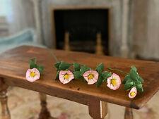 Vintage Miniature Dollhouse Nancy Barnett Painted Pink Morning Glories Flowers