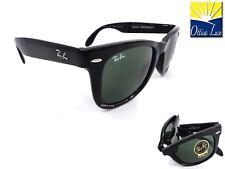 RAY BAN 4105 601 50 FOLDING WAYFARER Pieghevole Nero Sunglass Sole Occhiale