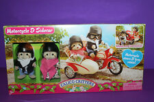 Calico Critters Raccoon & Motorcycle Sidecar in Box
