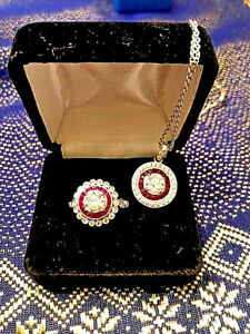 RING IS FREE! Platinum & 18K White Gold Natural Diamond & Ruby Pendant Ring Set