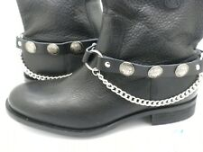 New Indian Head Leather Biker Western PAIR Boot Straps W Chain Buckle Women Men