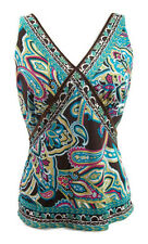 Saks Fifth Avenue S5A Womens Top Paisley Blue Pink Brown Yellow 100% Silk Medium