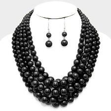 Chunky Pearl Necklace Multi Layered Twisted Statement BLACK SILVER Evening Event