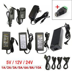 AC 110V-220V TO DC 5V 12V 24V Power Supply Driver Adapter LED Light Strip + Plug